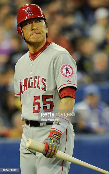 04/17/10 TORONTO ONTARIO Oakland slugger Hideki Matsui after striking out during MLB action between Toronto Blue Jays and Los Angeles Angels at...