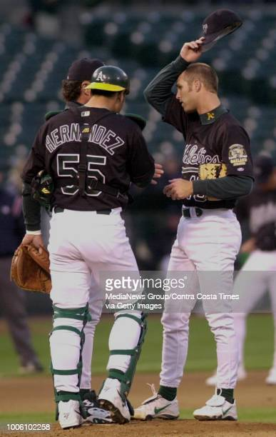 Oakland's pitcher Tim Hudson got into trouble early when Cleveland scored 3 runs in the 1st inning as the A's met the Indians Monday night April 10...