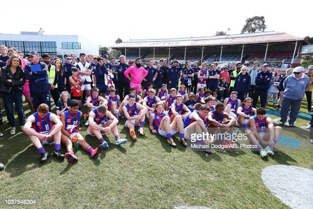 Oakleigh players look dejected after defeat after defeat during the 2018 TAC Cup Grand Final match between Dandenong and Oakleigh at Ikon Park on...