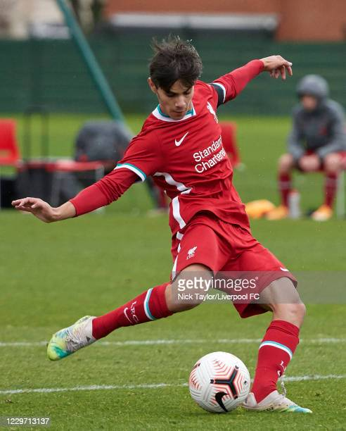 Oakley Cannonier of Liverpool in action at Melwood Training Ground on November 21, 2020 in Liverpool, England.