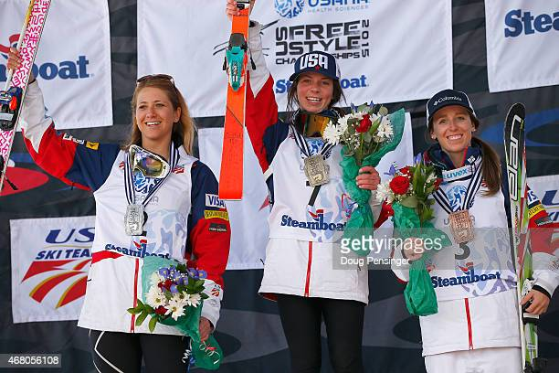 K C Oakley in second place Nessa Dziemian in first place and Mikaela Matthews in third place take the podium in the ladies' dual moguls at the 2015...