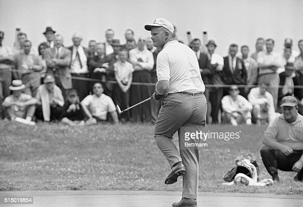 Oakmont Country Club, Pa.: Jack Nicklaus reacts with a dance step on the 6th green as he makes his putt during first round of US Open Golf...
