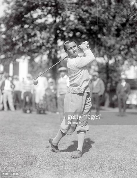 Gene Sarazen watching a ball he just drove at the National Open Golf Tournament at the Oakmont Country Club
