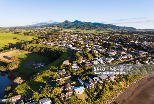 Oakura Small Town With The Backdrop Of Mt Taranaki, New Zealand.