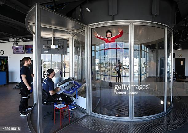 Oakville Canada September 19 Gillian Stovel in red flies in the chamber iFly is a relatively new indoor skydiving facility in Oakville The custom...