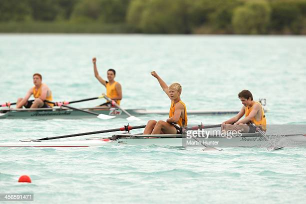 Oamaru Boys double sculls celebrate after winning under-15 during the 2013 Meridian Otago Championships at Lake Ruataniwha on December 15, 2013 in...