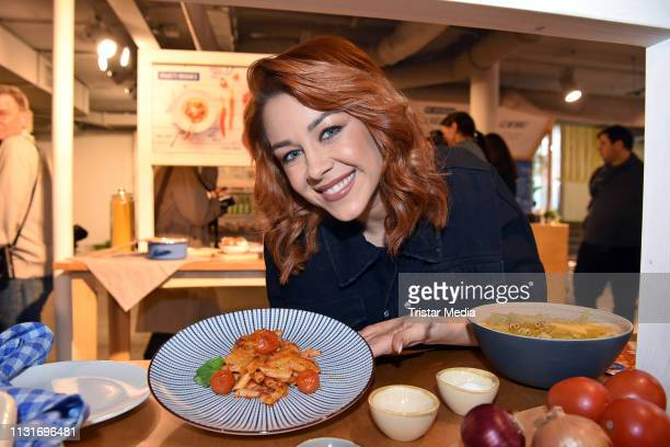 Oana Nechiti during the celebrity presentation of the 5 favourite german meals at REWE Pop Up store on March 20 2019 in Berlin Germany