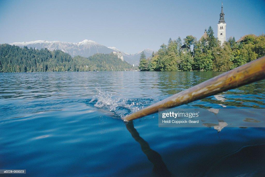 Oar in Lake : Stock Photo