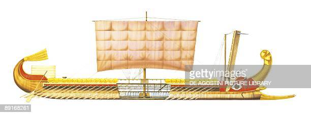 Oar powered Roman trireme 3rd1st century BC illustration