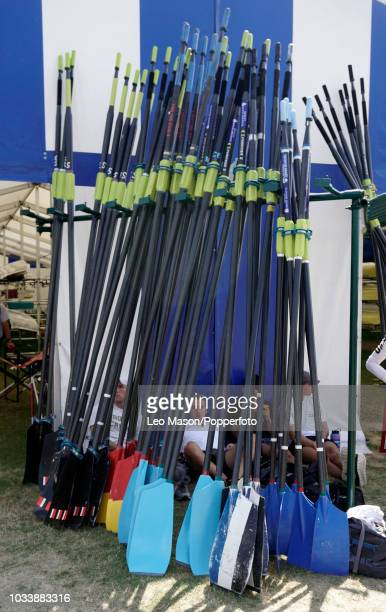 Oarsman's blades at the Henley Royal Regatta on The River Thames on July 6 2018 in Henley England