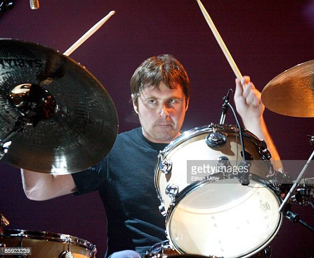 Oasis drummer Alan White performs at The Joint inside the Hard Rock Hotel Casino April 26 2002 in Las Vegas Nevada The British band's fifth album...