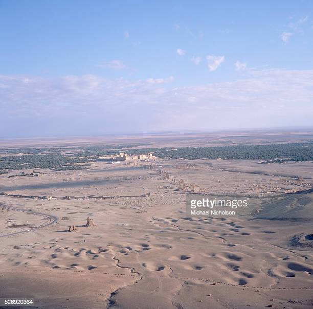 Oasis extends beyond the site of the ancient city of Palmyra, situated on the northern edge of the Syrian Desert.