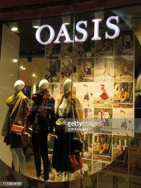 Oasis logo seen at their store in London Stansted Airport