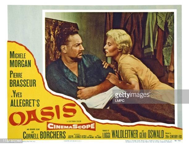 Oasis, US lobbycard, from left: Pierre Brasseur, Michele Morgan, 1955.