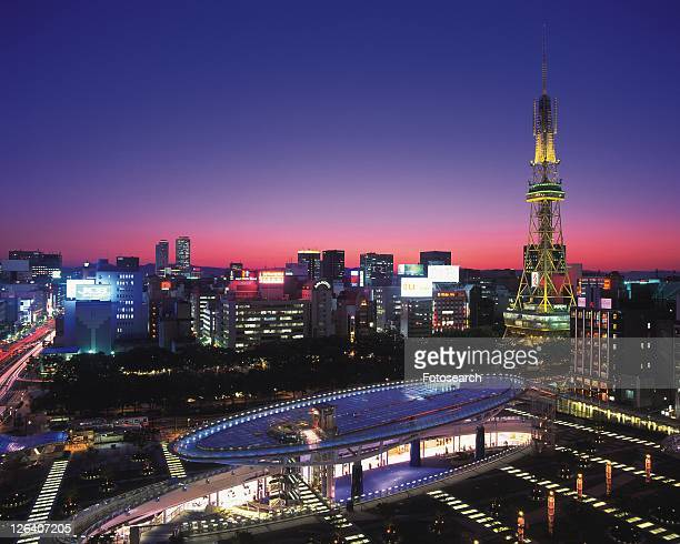oasis21 and nagoya television tower, nagoya city, japan, high angle view, long exposure - 名古屋 ストックフォトと画像