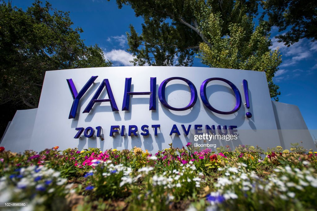 Oath Inc  Yahoo! signage is displayed at the company's