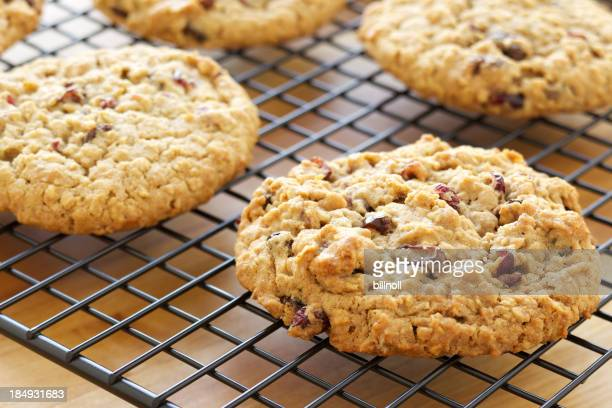 Oatmeal and cranberry cookies on cooling rack