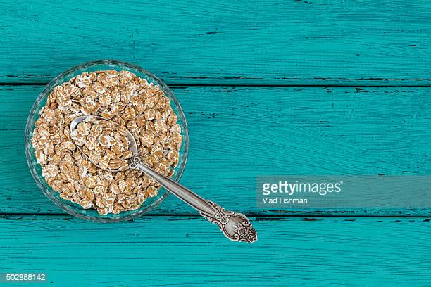 Oatmeal on a vintage wood background
