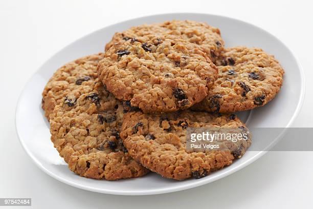 Oatmeal Raisin Cookies on a White Dish