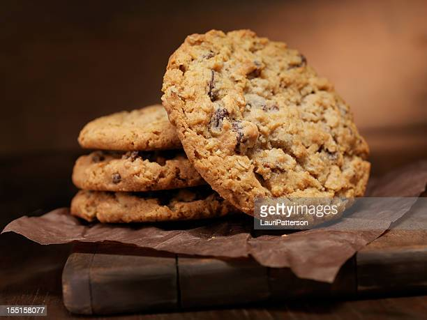 oatmeal raisin cookies - oatmeal stock photos and pictures