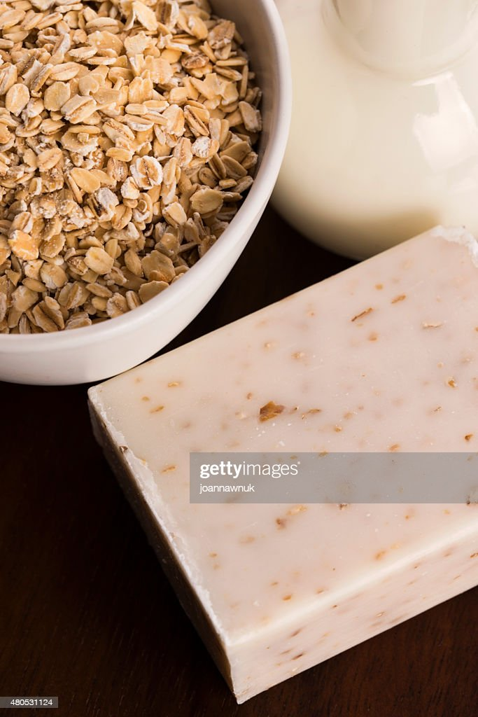Oatmeal soap : Stock Photo