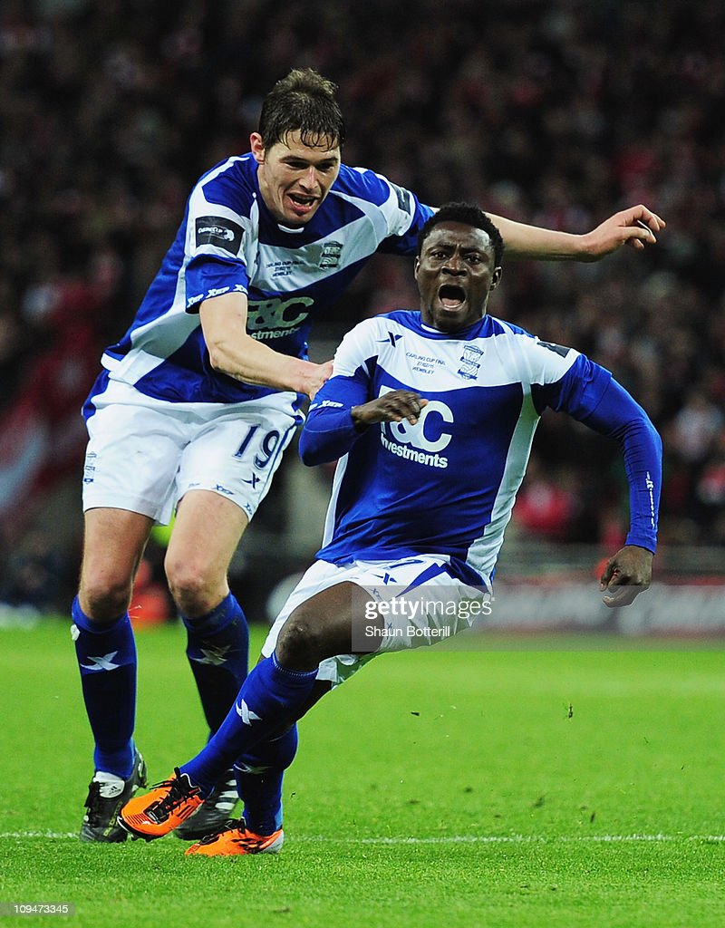 Obafemi Martins (R) of Birmingham City celebrates the winning goal with Nikola Zigic during the Carling Cup Final between Arsenal and Birmingham City at Wembley Stadium on February 27, 2011 in London, England.