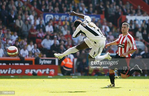 Obafemi Martins of Newcastle scores a goal during the Barclays Premiership match between Sheffield United and Newcastle United at Bramall Lane on...