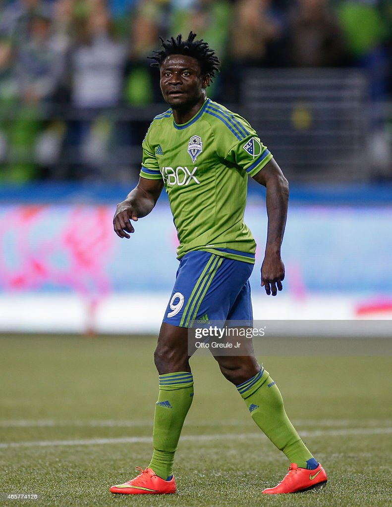 Obafemi Martins of the Seattle Sounders FC follows the ... Obafemi Martins Sounders Fc