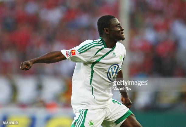 Obafemi Martins of Wolfsburg celebrates after scoring the 13 goal during Bundesliga match between 1 FC Koeln and VfL Wolfsburg at RheinEnergie...