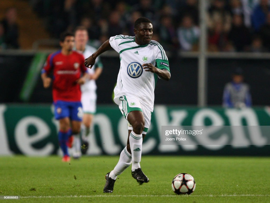 Obafemi Martins of Wolfsburg plays the ball during the UEFA Champions League Group B match between VfL Wolfsburg and CSKA Moscow at Volkswagen Arena on September 15, 2009 in Wolfsburg, Germany.
