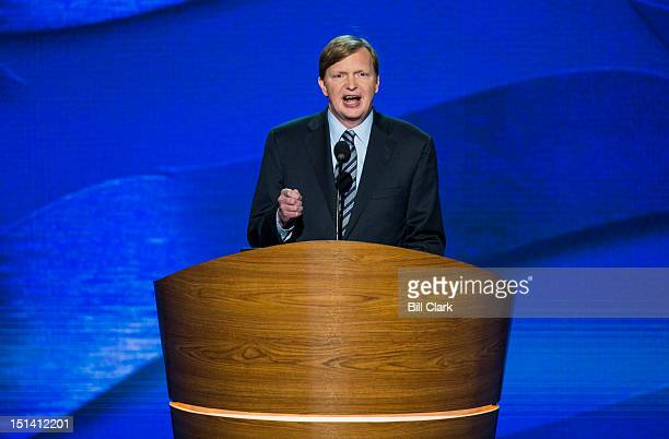 Obama campaign manager Jim Messina speaks at the Democratic National Convention at Time Warner Cable Arena in Charlotte NC on Thursday Sept 6 2012