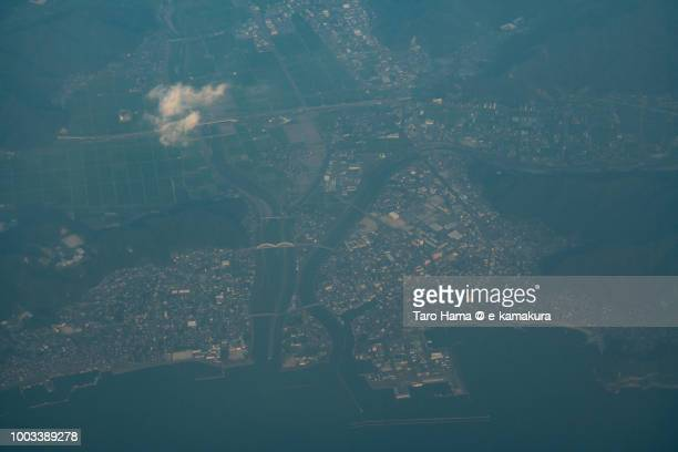 obama city in fukui prefecture in japan sunset time aerial view from airplane - fukui prefecture stock photos and pictures