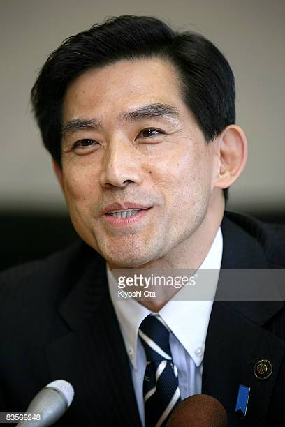 Obama City Mayor Koji Matsuzaki speaks to the media during a press conference following the victory of the Democratic presidential candidate US Sen...