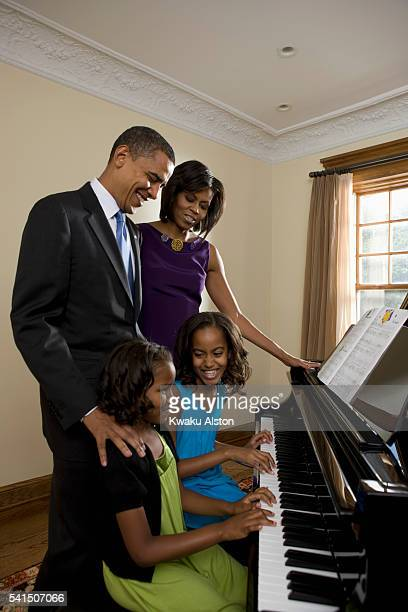 Obama Family are photographed for Essence Magazine on June 19, 2008 at home in Chicago, Illinois. PUBLISHED IMAGE.