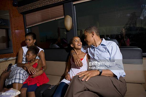 Obama Family are photographed for Essence Magazine on the campaign bus on July 4 2008