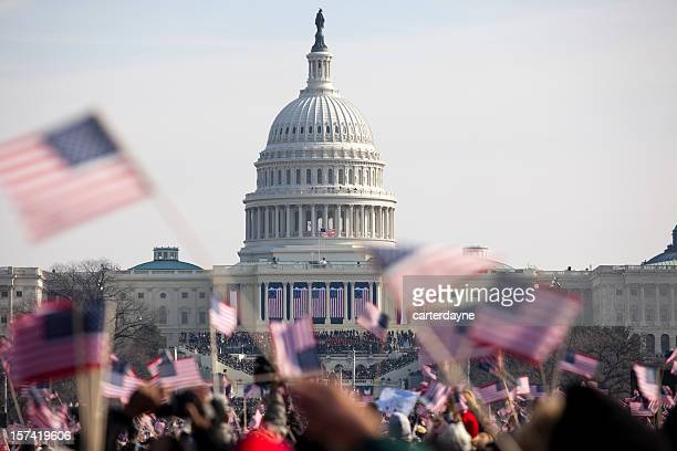 obama inauguration at the capitol building in washington dc - democracy stock pictures, royalty-free photos & images