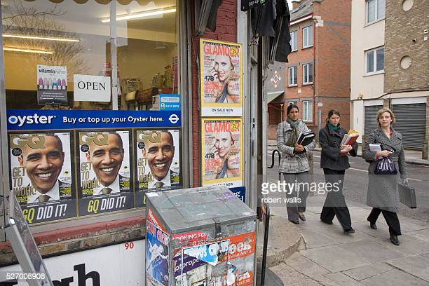 Obama magazine covers with the caption 'Get To Work' displayed in a London newsagent's shop window in the week leading up to his presidential...
