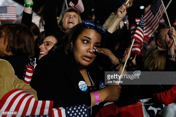 Obama supporters react after projections show that Sen Barack Obama will be elected to serve as the next President of the United States of America...
