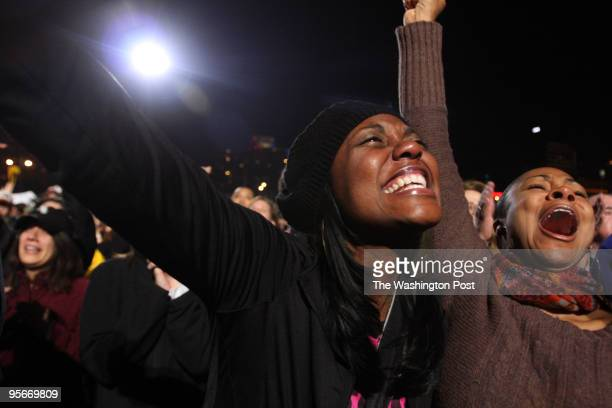 Obama supporters watch election results in Grant Park Keisha Dyson from Chicago weeps as it is announced that Obama will be president On right is...