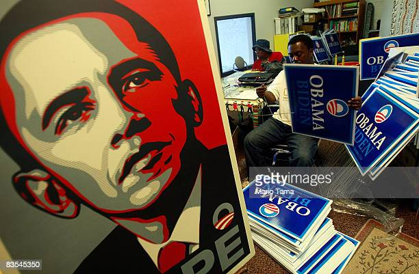 Obama volunteer Tony Smith puts together yard signs in Obama campaign offices November 3 2008 in Birmingham Alabama Birmingham along with Selma and...