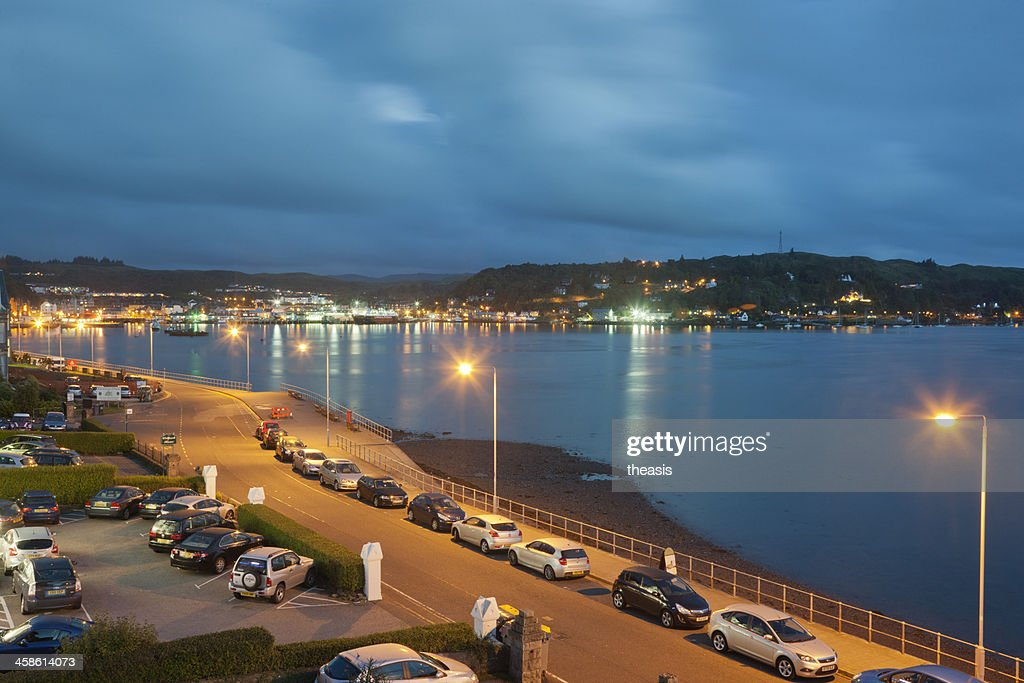 Oban Harbour At Night : Stock Photo
