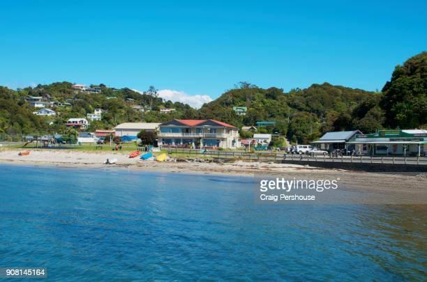 Oban village, beach and Halfmoon Bay.