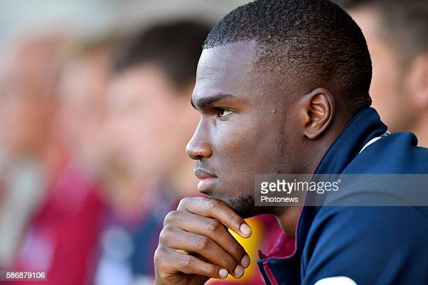 Obbi Oulare forward of SV Zulte Waregem is pictured on the substitution bank during the Jupiler Pro League match between Waasland - Beveren and SV...