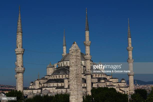 Obelisk of Constantine and Blue Mosque in Istanbul