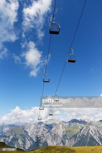 Obermooslift chairlift, Sonnenkopf skiing region, Lechquellen Mountains at the back, Verwall mountains, Vorarlberg, Austria