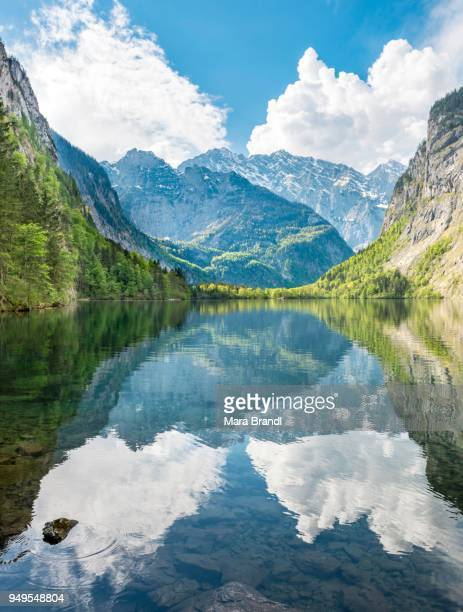 obersee water reflection, behind watzmann massif, salet on lake koenigssee, national park berchtesgaden, berchtesgadener land, upper bavaria, bavaria, germany - königssee bavaria stock photos and pictures