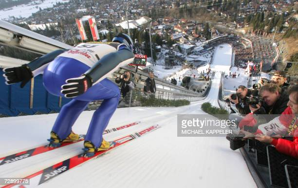 Finland's Janne Ahonen takes the start during a training session for the FISSki Jumping World Cup ahead of the first round of the Four Hills...