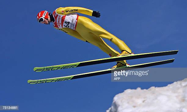 Michael Uhrmann of Germany competes in the Ski Jumping World Cup 28 January 2007 in Oberstdorf, southern Germany. AFP PHOTO DDP/OLIVER LANG GERMANY...