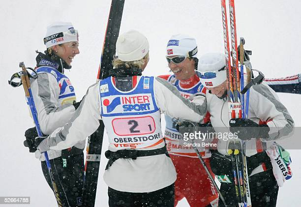 WM 2005 Oberstorf 210205 Skilanglauf/Frauen/Staffel Goldmedaille fuer Team NOR