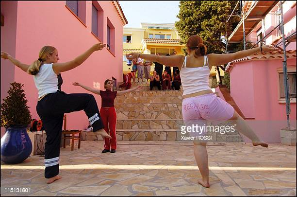 Obese teenagers get a second chance in Sanary Sur Mer France in May 2004 On the terrace of Les Oiseaux Martine Romanelli gives a dancing class Left...